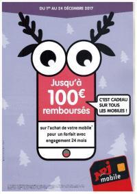 Jusqu'à 100 € remboursés sur l'achat de votre mobile du 1 er au 24 décembre 2017