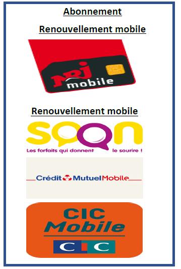 Renouvellement mobile avec NRJ, SOON, CIC Mobile, CM Mobile chez Telecom ONE