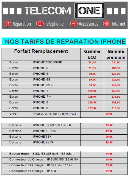 BAISSE IMPORTANTE DE PRIX... FORFAITS RÉPARATION ECRAN IPHONE ET IPAD CHEZ TELECOM ONE