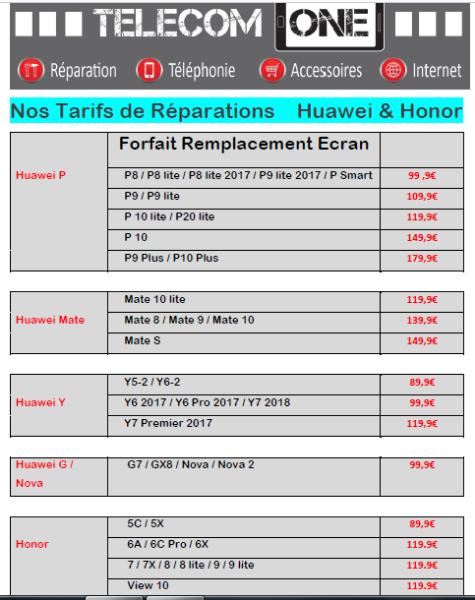 Tarifs de Réparation Ecran HUAWEI et HONOR Chez TELECOM ONE à Gaillon et Aux Andelys